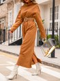Khaiki Shift Plain Casual Midi Dress