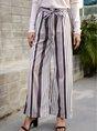 Gray Holiday Stripes Pants