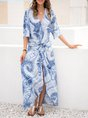 Sundress Blue Boho Slit Maxi Dress