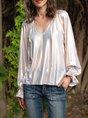 V Neck Cotton-Blend Long Sleeve Shift Top