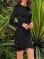 Cotton-Blend Long Sleeve Crew Neck Paneled Dress