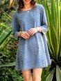 Denim Plain 3/4 Sleeve Casual Mini Dress