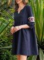 Shift 3/4 Sleeve Cotton-Blend Casual Dress