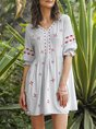 Swing Half Sleeve Embroidery Casual Dress