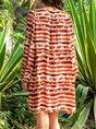 Cotton-Blend 3/4 Sleeve Sweet V Neck Dress