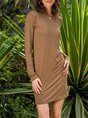 Casual Crew Neck Long Sleeve Cotton-Blend Dress