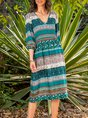 V Neck Shift Daily Cotton-Blend Tribal Dress