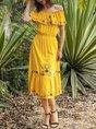 Shift Cold Shoulder Short Sleeve Embroidered Dress